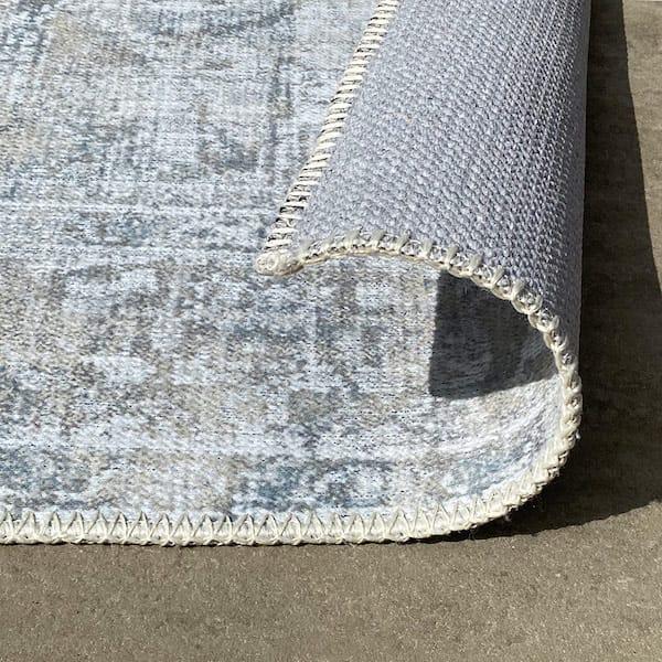 ornamental distressed designer rug turn up