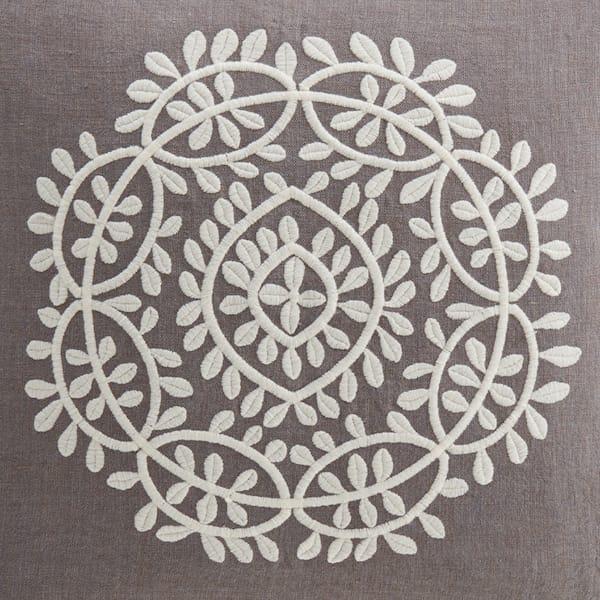 Mala Ornamental Motif Embriodered Cushion in Grey 2