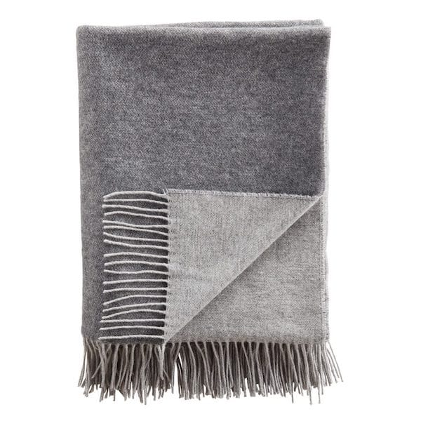 cashmere double faced throw in dark and light grey image