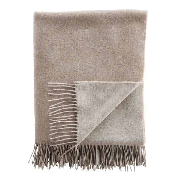 cashmere double faced throw in light brown and beige image