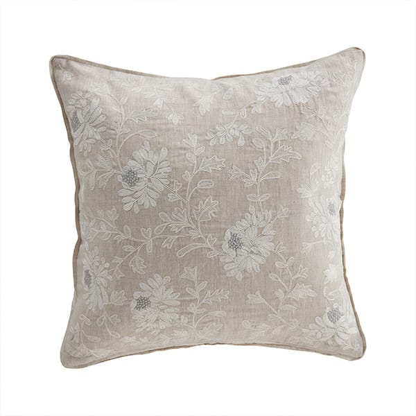 kamille floral embroidered cushion cover in linen image