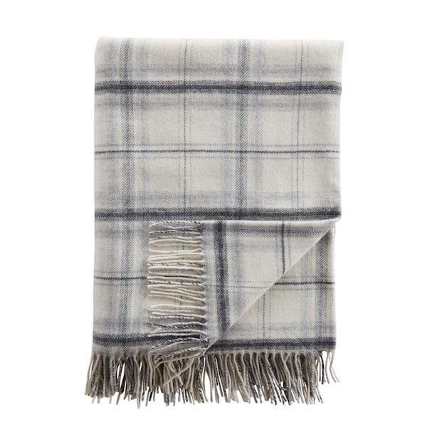 luxury cashmere check throw grey image