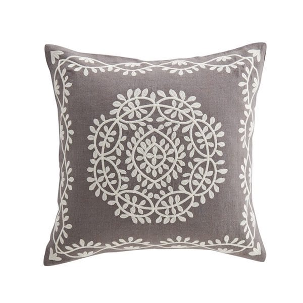 mala ornamental motif embroidered cushion cover in grey image