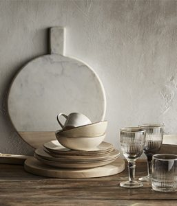 live style shot of crockery and wineglasses for interview