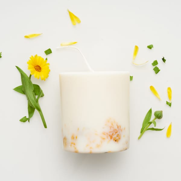 Marigold flower candle with petals to buy