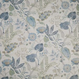 natural floral print design in shades of blue and green in interview
