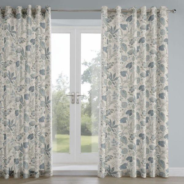 ava indigo printed fabric curtains image