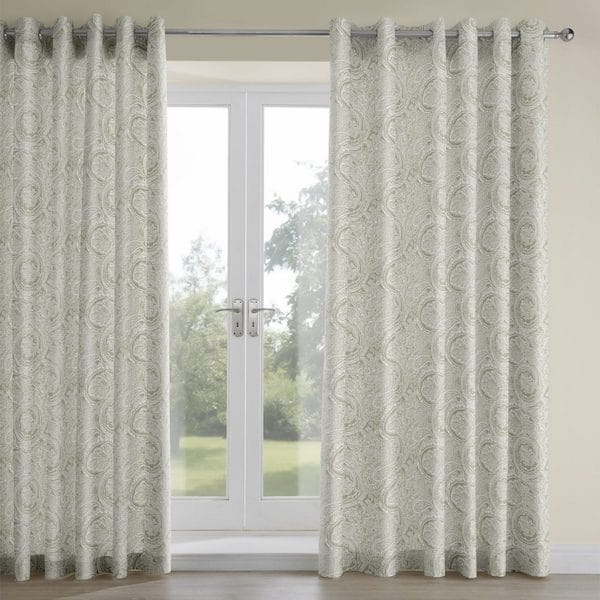 esker pewter woven fabric lined curtains image