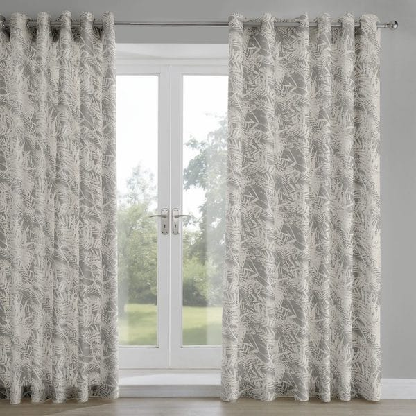 fern leaf mink printed lined curtains image
