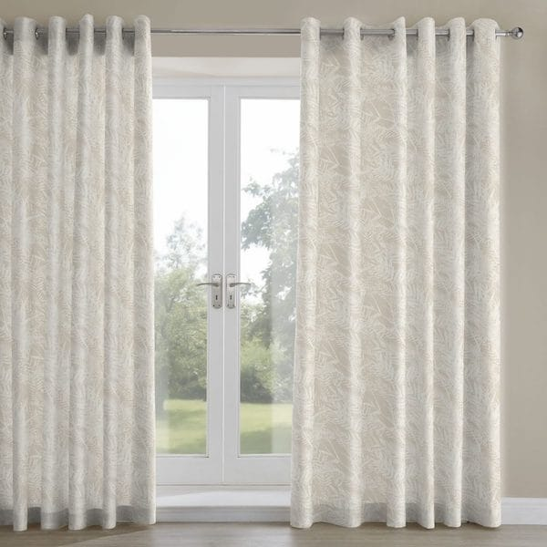 fern leaf natural printed lined curtains image