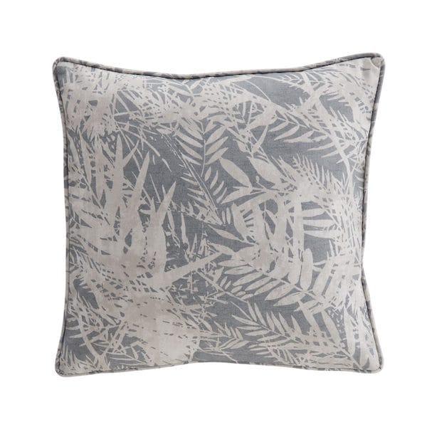 fern leaf soft navy printed cushion cover image