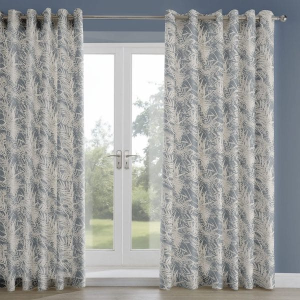 fern leaf soft navy printed lined curtains image