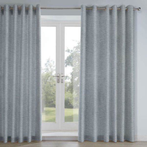 mali blue woven fabric lined curtains image