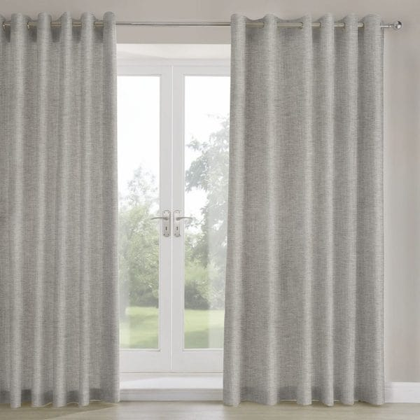 mali grey woven fabric lined curtains image