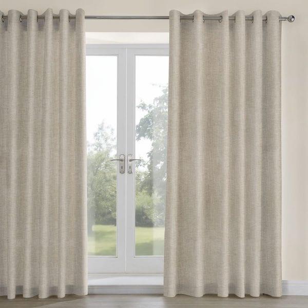 mali oatmeal woven fabric lined curtains image