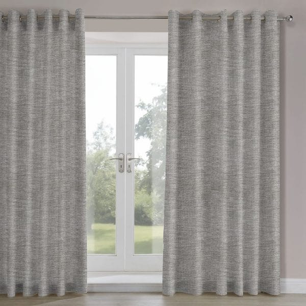 nova charcoal woven lined curtains image