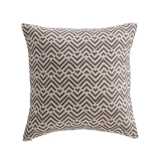 zimi diamond patterned embroidered cushion cover in blue and linen image