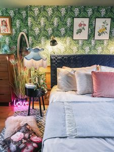 bedroom livestyle with bedding and cushions collaboration with lILY sAWYER