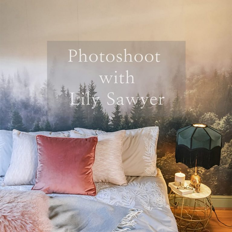 bedroom lifestyle image with Lily Sawyer link to photoshoot images