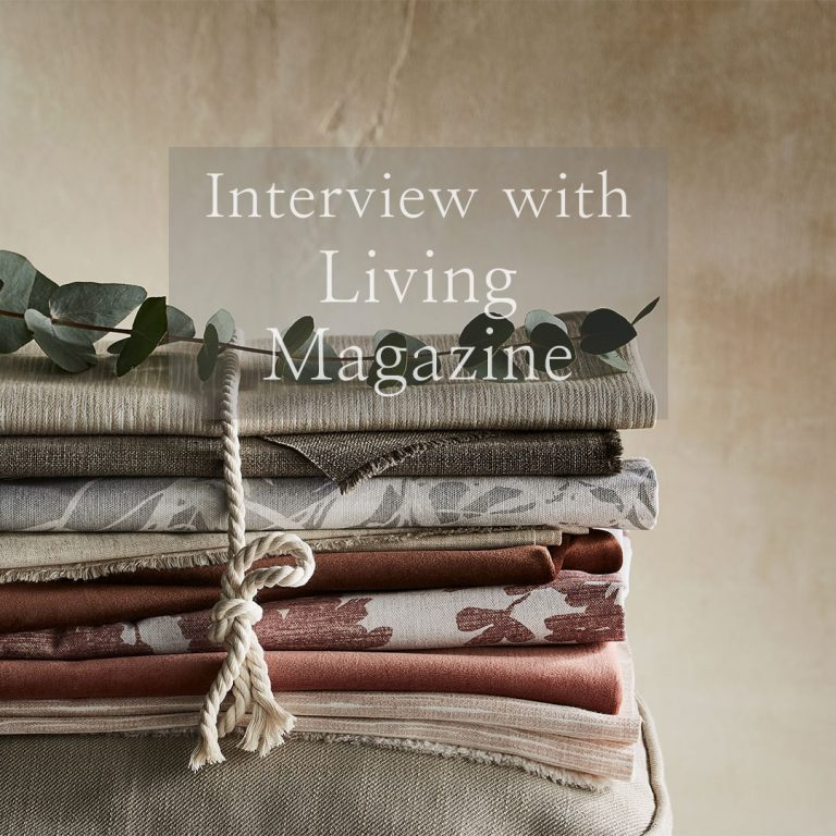 fabric stack with link to article in Living magazine