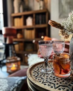 wine glasses and tumblers in live style photoshoot