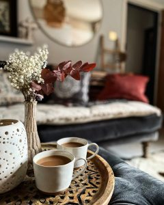 coffee mugs in interior photoshoot