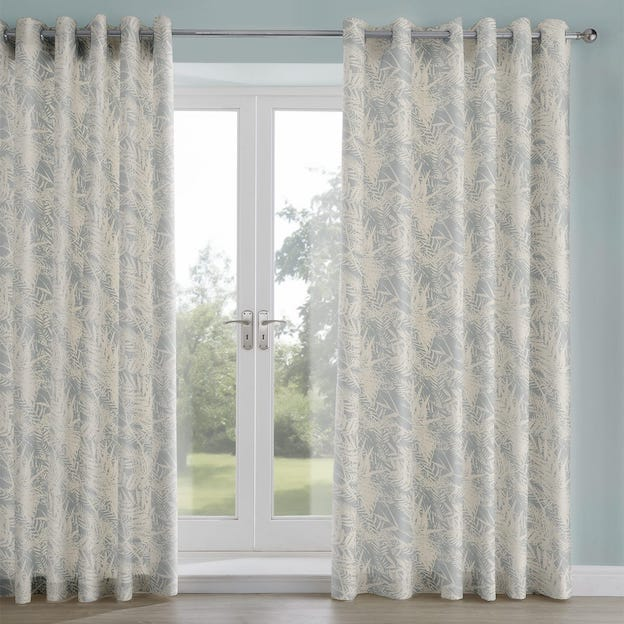 Fern Leaf Duck Egg Printed Lined Curtains